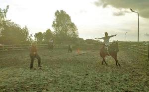 voltige armen wijd paard